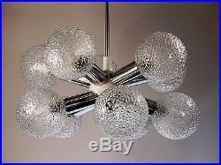 Mid-Century Modern Chandelier Pendant Lamp Starburst Sputnik 10 Glass Shades