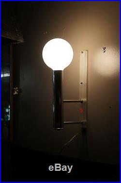 Mid Century Modern Chrome Sconce With Glass Dome Globe Light Lamp Wall Fixture