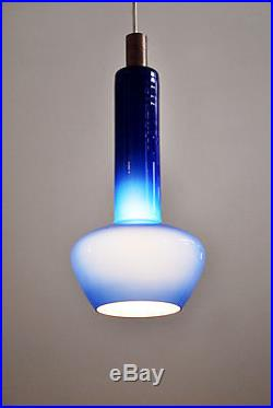 Mid Century Modern Danish glass teak pendant hanging lamp Vistosi Holmegaard
