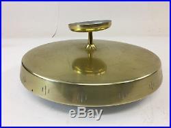 Mid Century Modern FLUSH MOUNT CEILING LIGHT gold glass lamp brass fixture 50s