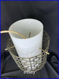 Mid Century Modern Gerald Thurston Pendant Lamp Ceiling Light Brass Glass eames