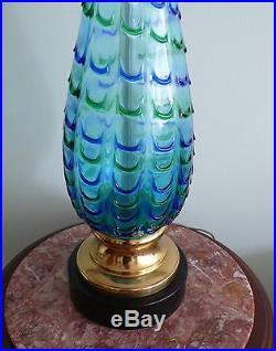 Mid-Century Modern Gino CENEDESE Murano Aqua Art Glass Fenici Fenecio Lamp