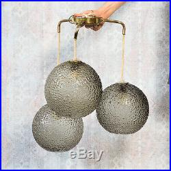 Mid Century Modern Hanging Lamp 3 Tier Glass Globe Shade Gray 3 Light Fixture