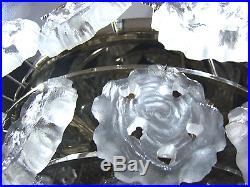 Mid-Century Modern Ice Glass Flower Chandelier by LIMBURG Germany 1960´s
