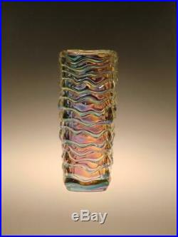 Mid Century Modern Iridescent Glass Vase Peceny Sklo Union Hermanova Hut 1970s