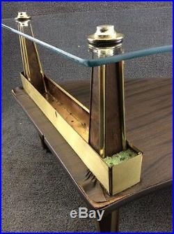 Mid Century Modern Kidney Peninsula Glass Top & Wood Grain Planter Coffee Table