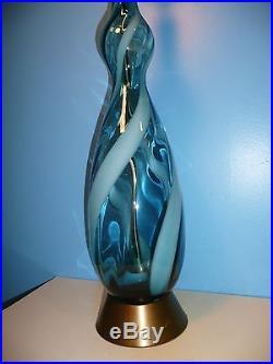 Mid-Century Modern MURANO'Blue' Art Glass Table Lamp Atomic Hollywood Regency