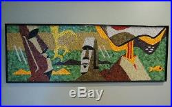 Mid Century Modern Mosaic Glass Tile Wall Art Tiki Easter Island Volcano Fish