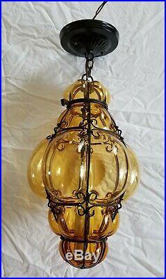 Mid Century Modern Murano Caged Amber Glass Hanging Lamp