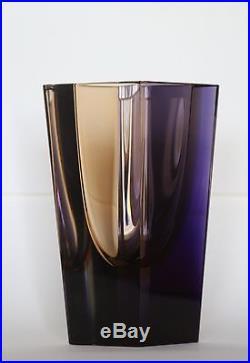 Mid Century Modern Murano Geode Italy Art Glass Sommerso Vase / Mystery Artist