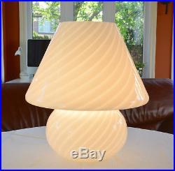 Mid Century Modern Murano White Swirl Glass One Piece Mushroom Table Lamp 15