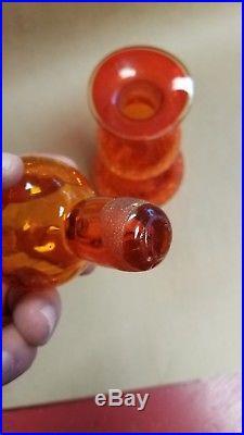 Mid Century Modern Orange Tangerine Blenko Crackle Glass Decanter. MINT