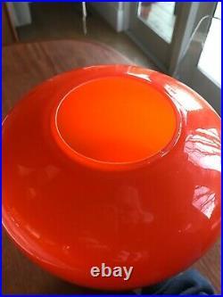 Mid-Century Modern Orange Teardrop Glass Hanging Lamp Shade