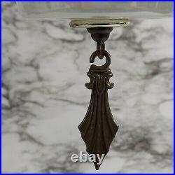 Mid Century Modern Pendant Hanging Lamp Iridescent White Thumbprint Glass VTG