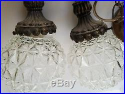 Mid Century Modern Pineapple Glass Double Globe Hanging Swag Lamps