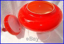 Mid Century Modern Red Empoli Cased Glass Pedestal Apothecary Italian Circus