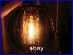 Mid Century Modern Smoke Glass Swag Pendant Lamp Light Fixture