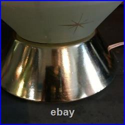 Mid Century Modern Starburst Glass Lamp Parchment Fiberglass Shade Stars Retro