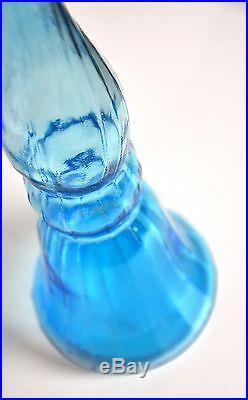 Mid-Century Modern Tall Empoli Light Blue Decanter Art Glass Genie Bottle 1960s