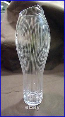 Mid Century Modern Tapio Wirkkala Iittala Slender Etched Glass Vase 10 1/2 1956