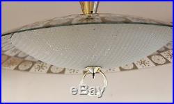 Mid Century Modern Thomas Light Brass Glass Atomic Pendant Hanging Fixture 1960s