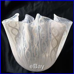 Mid Century Modern Venini Murano Venetian Glass Latticinio Vase c. 1950s