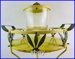 Mid Century Modern Yellow Green Leaf Patio Drink Set Ice Bucket Matching Table