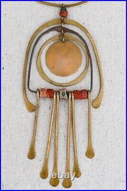 Mid Century Modernist Mix Metal Brutalist Brass Kinetic Pendant Collar Necklace