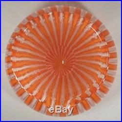 Mid-Century Murano Filigree Orange And White Carfae / Pitcher 8 1/4