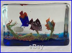 Mid Century Murano Glass Block Aquarium Cenedese Barbini Paperweight Sculpture