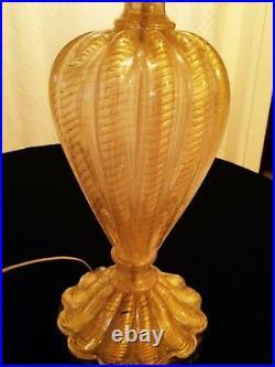 Mid Century Murano Glass Gold Lamp