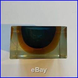Mid Century Murano Glass Madruzzato Sommerso Geode Block Bowl Salt Dish Ashtray