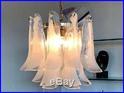 Mid Century Murano Italian 1970 Original Mazzega SELLE Glass Chandelier Pendant