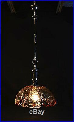 Mid-Century Murano Smoked Glass Pendant Designer Light Lantern Venini 1960s