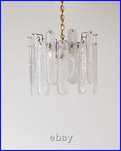 Mid Century Murano Venini Rugiadoso Art Glass 20 Leaf Chandelier