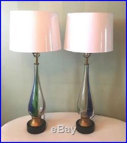 Mid Century Pair Murano Barovier & Toso Attributed Handblown Glass Lamps