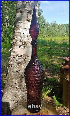 Mid Century Purple Empoli Italian Glass Genie Bottle Decanter 22 3/4 T See Add