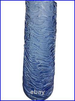 Mid Century Purple Periwinkle Wave Empoli Decanter Genie Bottle & Stopper 22.5