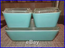 Mid Century Pyrex Turquoise / Aqua 8 Pc. Lidded Refrigerator Set #501, 502, 503