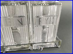 Mid Century Regency Art Deco Style Chrome & Glass Tantalus Liquor Decanter Set