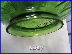 Mid-Century Regency Green clear & FROSTED Glass 24 Swag Lamp optic encrusted