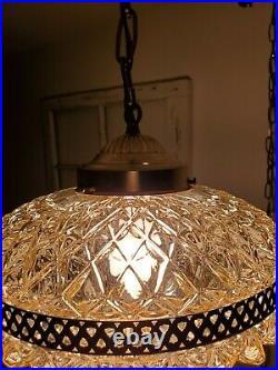 Mid Century Regency Light Tangerine Color Pineapple Cut Glass Hanging Swag Lamp