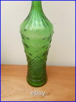 Mid-Century Retro Empoli Glass Moon & Stars Bottle Decanter 22.5
