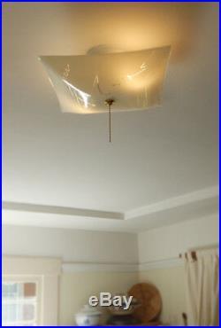 Mid Century Semi Flush Ceiling Light Vintage Glass Shade w New Pull Chain Fixtur