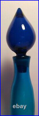 Mid Century Signed Blue Blenko Decanter Genie Bottle Hand Blown Free Form