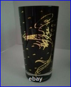 Mid Century Signed FRED PRESS 12 OZ Highball Tumbler Glasses ATOMIC ROOSTER 4 Pc