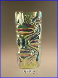 Mid Century Space Age Vase Iridescent Art Glass Czech Sklo Peceny 1970s Vintage