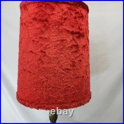 Mid Century Spanish Gothic Red Art Glass Lamp Original Vtg Red Velvet Shade