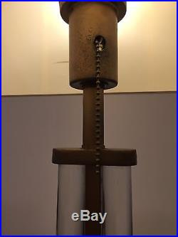 Mid Century Streamline Art Deco Brass & Glass Rod Lamp by Gilbert Rohde MSLC