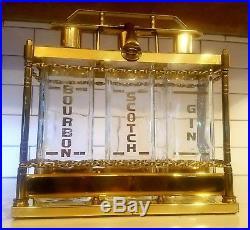 Mid Century Tantalus Brass & Glass Decanter Bourbon, Gin, Scotch Caddy Bar Set